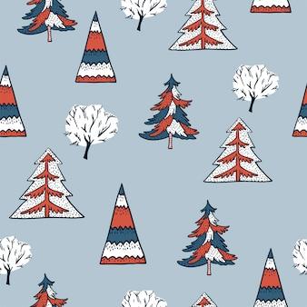 冬ビンテージクリスマスツリーのシームレスパターン