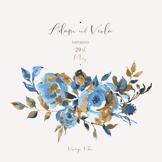 Абстрактные бирюзовые розы, полевые цветы, старинные открытки. натуральные синие цветочные элементы дизайна