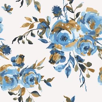 Векторные винтажные бесшовные модели с бирюзовыми розами, полевыми цветами. натуральная голубая цветочная текстура