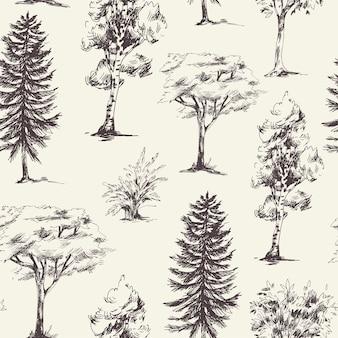 Естественный бесшовный узор из монохромных деревьев