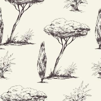 モノクロの木の自然なシームレスパターン