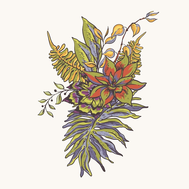 花の熱帯の自然なコレクション。緑のグリーティングカード、花、葉