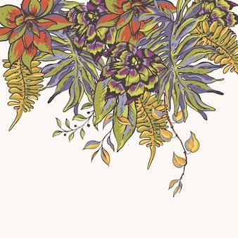 花の熱帯の自然なコレクション。緑のグリーティングカード、熱帯の花、葉
