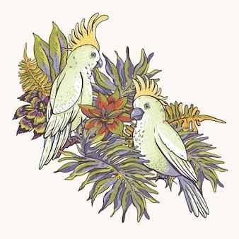花の熱帯の自然なコレクション。白いオウム、緑のグリーティングカード