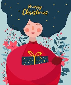 女性はクリスマスグリーティングカードイラストの背後にある葉と花のギフトボックスを抱擁します。