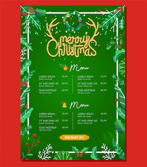 Шаблон меню еды меню ресторана с рождественским элементом