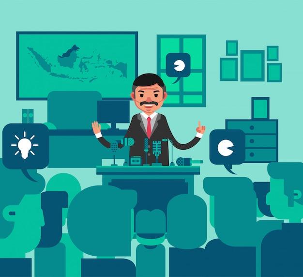 多くの人々の前で記者会見で話しているスーツを着た男性キャラクター。シルエットとして描かれた聴衆。平らな