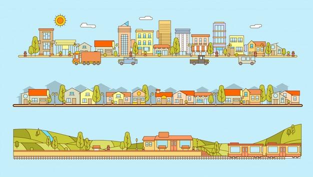 線のスタイルの街並み、集合住宅、村の風景と丘の平らなイラストの駅のセット