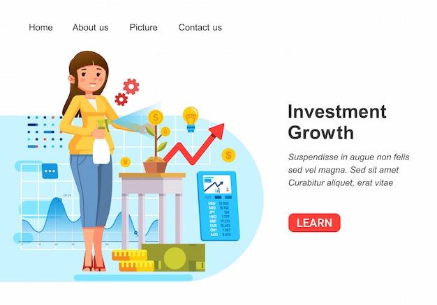 果物としてコインで成長している植物で示されている長期投資を成長している女性の等角投影図
