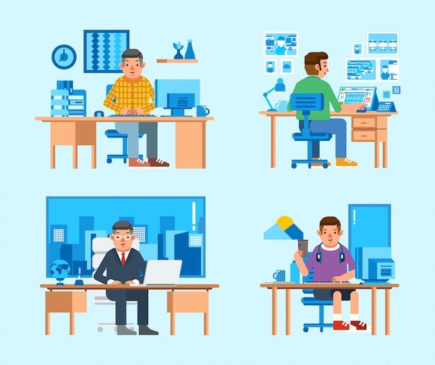 コンピューター、ラップトップ、その他のもので机の上に取り組んでいるいくつかの男キャラクターの等角投影図を設定します。