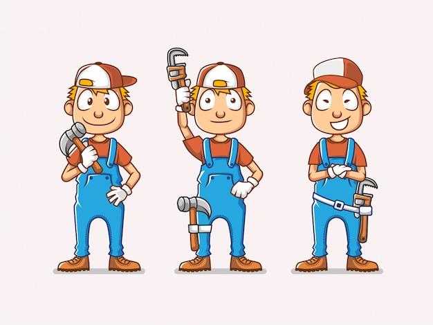 配管工のキャライラストのセットは、修復ツールをもたらす