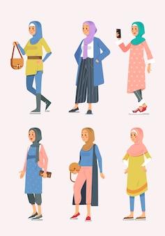 様々なスタイル、イスラム教徒の女性イラスト等尺性女性ヒジャーブファッションのセット