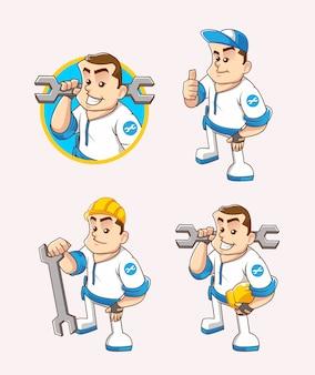 プロのメカニックの等尺性キャラクターを設定し、ツールとヘルメットの図を運ぶ半身