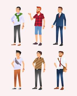 カジュアルからフォーマルまでのさまざまなスタイルを持つ男の六つのキャラクターデザインイラストのセット