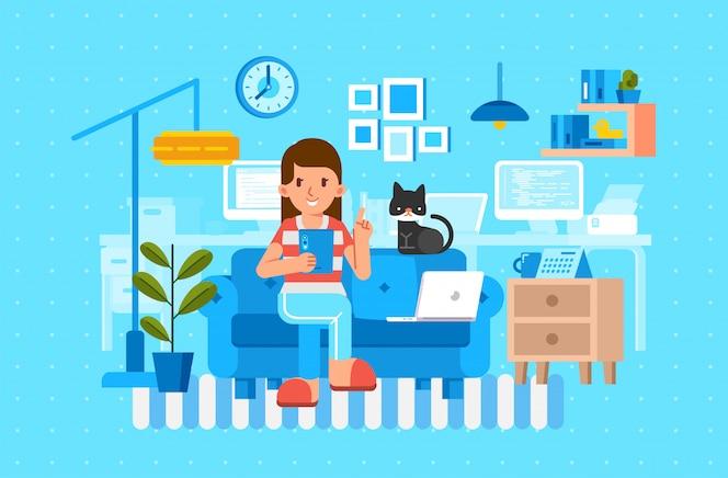 リビングルームのインテリアと一緒にタブレットと猫を保持しているソファに座っている女性