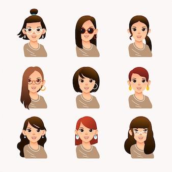 別のモダンな髪のスタイルを持つ若い女性のコレクション