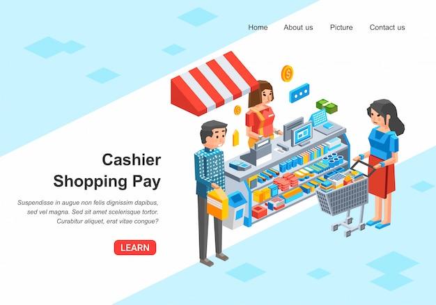 店員とレジで支払う人、男と女、レジデスク等尺性イラストのストックディスプレイとラックとスーパーマーケットのインテリア