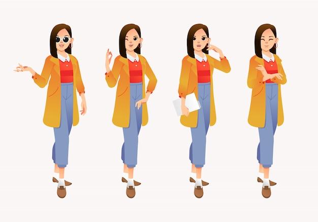 別のポーズでモダンなスタイリッシュな若い女性のキャラクターのイラストを設定します。
