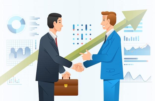Деловое сотрудничество между двумя компаниями иллюстрируют с двумя бизнесменами, пожимающими руку