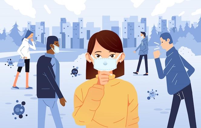 Люди болеют и кашляют на публике, надевают маску для предотвращения распространения вируса.