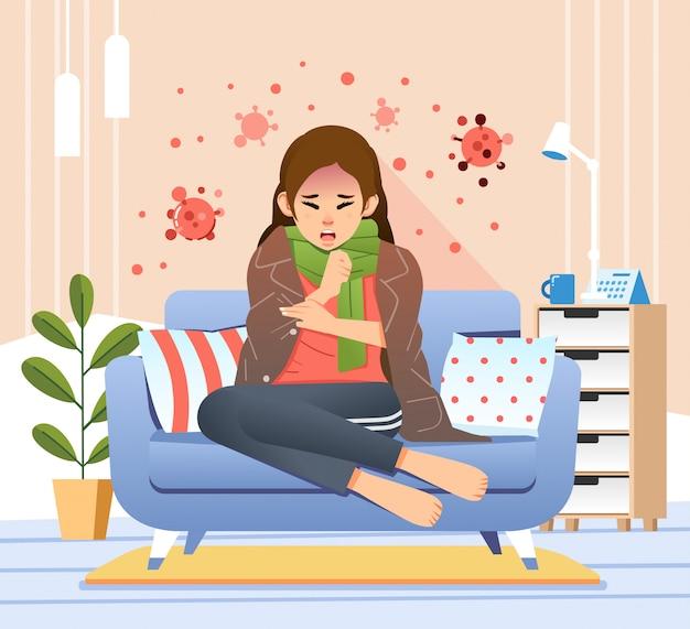 ソファに座っている若い女性が咳や発熱のイラストのようなコロナウイルスの症状を持っている