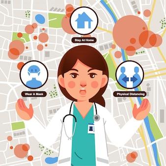 町でのウイルスの伝染性とそれを防ぐ方法についての情報を与える医師フラットイラスト