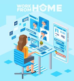 コンピューターを自宅から作業し、クライアントとオンライン会議の電話会議を行う女性の等角投影図
