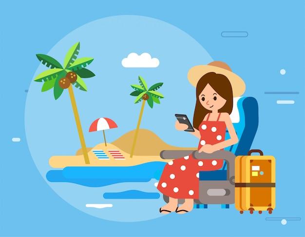 Женский персонаж держит смартфон, сидит на транспортном стуле и собирается в отпуск на пляж, чемодан рядом и пляж в качестве иллюстрации