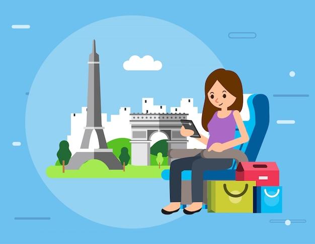 スマートフォンを保持している女性とイラストのように彼女と世界の有名なランドマークの横にあるショッピングバッグと飛行機の座席に座る