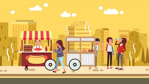 夏の暑い日のイラストで屋台の食べ物がいっぱい通りを歩きながらハンバーガーを食べる女性