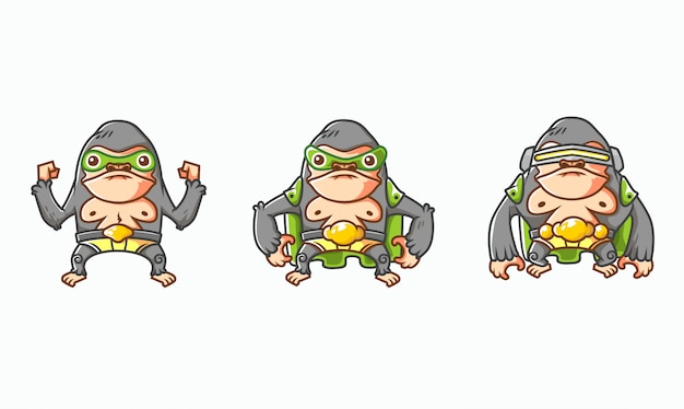 Набор изометрической гориллы героя характер эволюции иллюстрации, с белым фоном