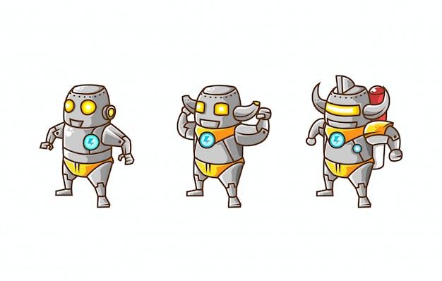 Набор изометрической иллюстрации эволюции персонажа робота из базового, промежуточного и продвинутого режимов