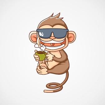 猿は一杯のコーヒーマスコットロゴイラストを飲む