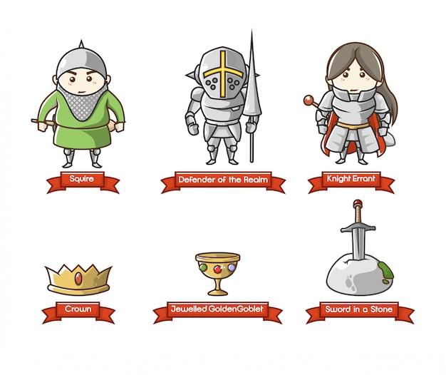Мультяшный набор символов средневековый рыцарь войск, рыцарь с упряжью