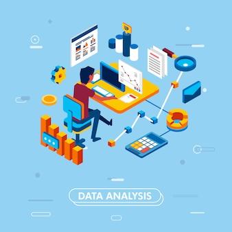 Современная изометрическая концепция дизайна анализа данных для веб-сайта и мобильного приложения.