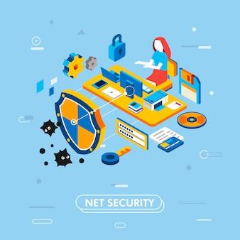 ノートパソコンとコンピューターの机で働く管理者としての女性キャラクターとインターネットセキュリティのモダンな等尺性デザイン、ディスク、南京錠、シールド、キー、彼女の周りのパスワードベクトル図があります。