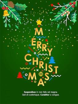 手紙から作るクリスマスツリーとイラストをレタリングクリスマスグリーティングカード