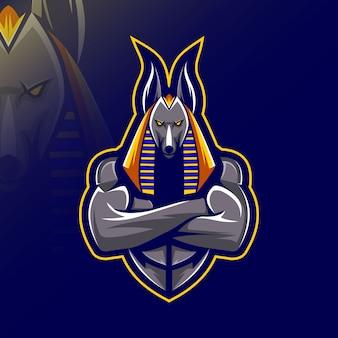 Анубис талисман логотипа кибер спорт дизайн