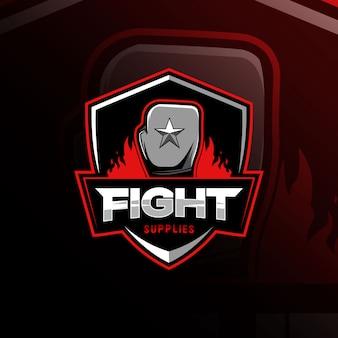 Бой боксерский талисман логотип кибер спорт дизайн