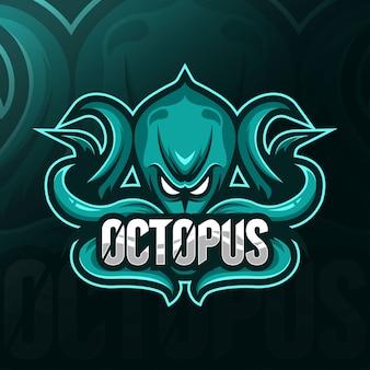 Осьминог талисман логотип шаблоны киберспорта