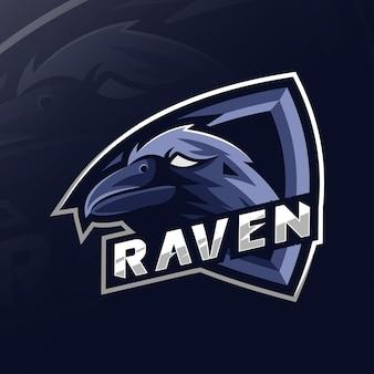 Ворон талисман логотип дизайн киберспорт