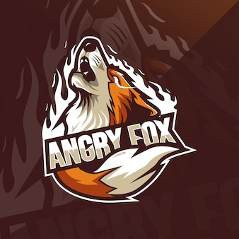 怒っているフォックスマスコットのロゴのテンプレート
