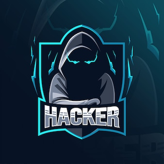 Хакер талисман дизайн логотипа