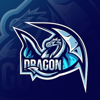 Дракон талисман логотип кибер дизайн