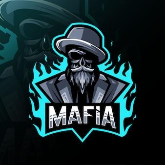 Мафия талисман логотип дизайн киберспорт