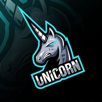ユニコーンマスコットのロゴのテンプレートデザイン