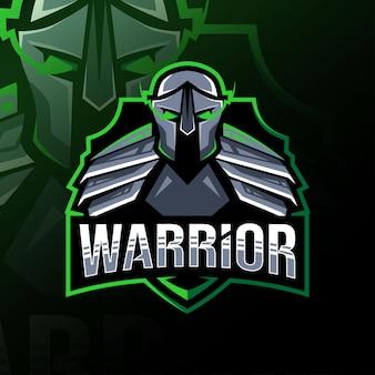 戦士のマスコットのロゴのテンプレートデザイン