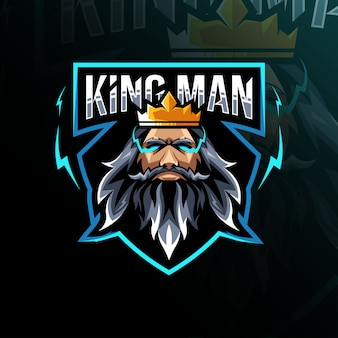 王の男のマスコットのロゴのテンプレート