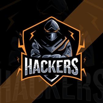 ハッカーのマスコットのロゴデザイン