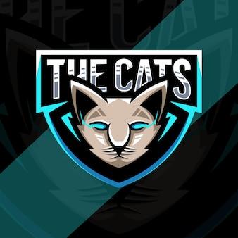 Голова кота талисман логотип дизайн киберспорт